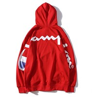 Champion X Supreme Fashion Women Men Loose Back Big Logo Print Long Sleeve Hooded Lovers Sweatshirts Pullover Top Red I13502-1