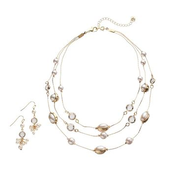 Croft & Barrow Multistrand Station Necklace & Cluster Drop Earring Set (Pearl/Gold)