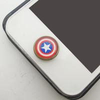 Gift for Boys & Men 1PC Glass Epoxy Times Gems America Captain Alloy Home Button Sticker for iPhone 6, 4s,4g,5,5c Mobile Phone Charm