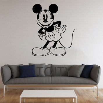 Black Wall Sticker Mickey Mouse Cartoon for Kids Room Decal Removable Vinyl Transfer Stencil Mural Home Nursery Decor