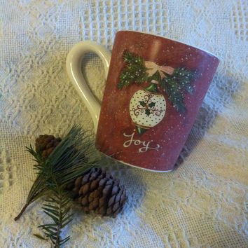 Christmas Joy Hope Mug Large Ceramic Red White Cup With Ornament Bell Pine Branches Vintage Cypress Home Mug Signed by Artist Annie LaPoint