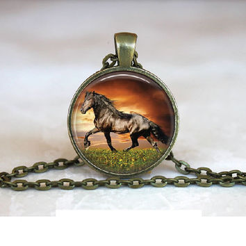 Horse Necklace Glass Tile Pendant Necklace Horse Jewelry Necklace With Image Of Horse 1 Inch Antique Bronze Round Horse Jewelry
