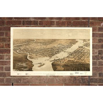 Vintage Green Bay Print, Aerial Green Bay Photo, Vintage Green Bay WI Pic, Old Green Bay Photo, Green Bay Wisconsin Poster, 1867