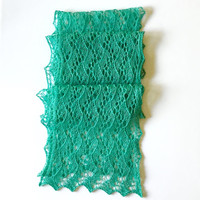 Hand knit lace scarf, green lace scarf, silk merino lace scarf, long lace scarf
