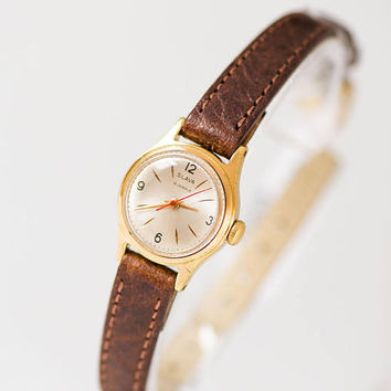 Vintage women's watch Glory very small, petite lady watch gold plated minimalist, shockproof women watch classic, premium leather strap new
