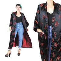 Vintage Chinese Robe Asian Kimono Black Satin Robe Black & Red Kimono Belted Robe Traditional Chinese Characters Silky Dressing Gown (L)