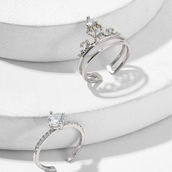 Double Layered Crown Cuff Ring 2pcs