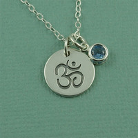 Om Gemstone Necklace - sterling silver ohm charm necklace - yoga hindu jewelry - zen gift