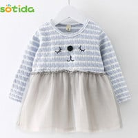 Sotida Baby Dresses 2016 Autumn New Fashion Baby Girls Clothes Long-sleeve Striped Cartoon Kitten Embroidery Design Kids Dresses