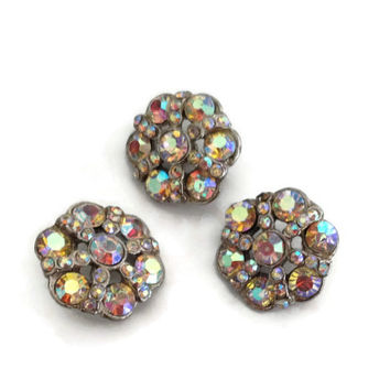 Vintage Crystal Buttons Aurora Borealis, Wedding Dress Button, Vintage Craft Supply, Dressmaking Supplies, Collectible Vintage Buttons