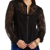 Black Floral Lace Bomber Jacket by Charlotte Russe
