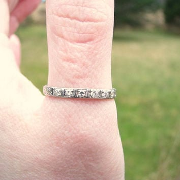 Art deco Wedding Band, Old Cut Diamond Platinum Ring, Carved Floral Eternity Band, Engraving, Hard to Find Size 9, Circa 1930's
