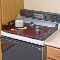 Walnut Color Stove Top Cover W/Handles Extra Counter Space Kitchen Serving Tray