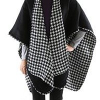 Houndstooth womens Reversible Poncho Shawl Wrap Black White 31""