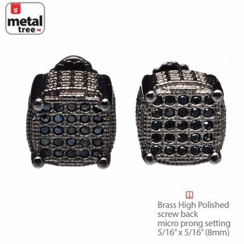 Jewelry Kay style Men's 3D Oval Square Screw Back Hip Hop Earrings Pave Black CZ Hand Set 978 3T