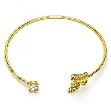 Gold Layered 07.199.0001 Individual Bangle, Butterfly Design, with White Micro Pave and White Cubic Zirconia, Polished Finish, Golden Tone (02 MM Thickness, One size fits all)