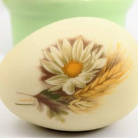 Daisy Pottery Egg, Autumn Theme, Collectible Egg, Daisy and Wheat, Fall Colors, Vintage Collectibles