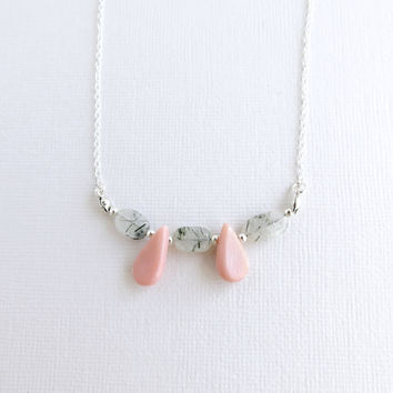 Pink Bamboo Coral and Rutilated Quartz - Sterling Silver Filled Necklace - 18""