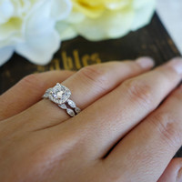3/4 ctw, Halo Wedding Ring, Bridal Set, Man Made Diamond Simulants, Art Deco Engagement Ring, Wedding Ring, Promise Ring, Sterling Silver