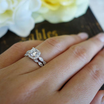 3/4 Carat Halo Wedding Set, Vintage Bridal Rings, D Color Man Made Diamond Simulants, Art Deco, Engagement Rings, Wedding, Sterling Silver