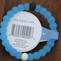 Lokai bracelet men women Silicone beaded strands bracelet white and blue