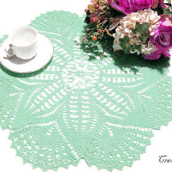 Crochet Doily, Aquamarine Doily, Handmade Doily, Centerpiece,  Table decorations, Round Doily, Centrino Acquamarina (Cod. 10)