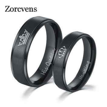 Trendy ZORCVENS Fashion DIY Her King and His Queen Stainless Steel Wedding Rings for Women Men AT_94_13