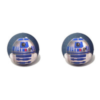 "Handmade ""R2D2"" Star Wars Inspired Fabric Button Earrings 3/4"""