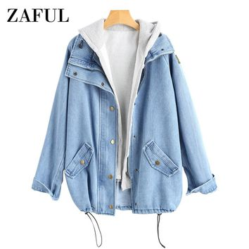 ZAFUL Button Up Denim Jacket with Hooded 2 Piece 3XL Female Jean Plus Size Autumn Women Coat 2018 Fashion Streetwear Veste Femme