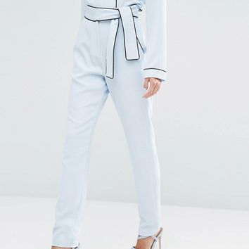 Lavish Alice Tie Belt Slim Pants at asos.com