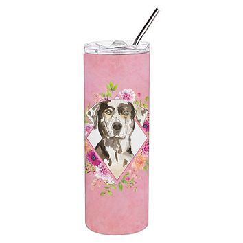 Catahoula Leopard Dog Pink Flowers Double Walled Stainless Steel 20 oz Skinny Tumbler CK4249TBL20