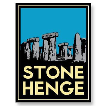 Stonehenge art deco travel poster post card from Zazzle.com