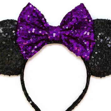 Black Sequin Ears and Purple Bow