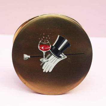 Powder Compact, Stratton Compact, Tophat, Cocktail, Compact Mirror, Evening Wear, Novelty, Handbag Mirror, Jazz Age, Loose Powder - 1950s