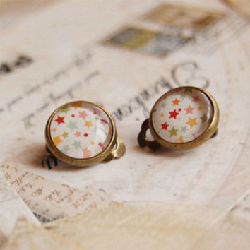 Popular Star Clip Earrings Without Piercing for Children Handmade Round Glass Cabochon Post Earrings Party Kpop Jewelry rj04