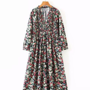 Autumn Floral Long Sleeve Dress