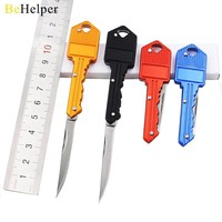 BeHelper [4 Color] Protable Key Fold Knife Key Pocket Knife Key Chain Knife Peeler Mini Camping Key Ring Knife Tool