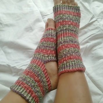 Toeless Yoga Socks Hand Knit in Green Pink and by MadebyMegShop