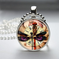 Photo Art Glass Bezel Pendant Steampunk Dragonfly Necklace