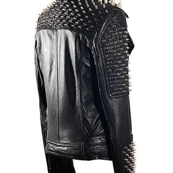 Studded Leather Jacket, silver metal studs biker pointy spiky moto cross for womens