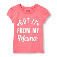 Toddler Girls Short Sleeve 'Got It From My Mama' Graphic Tee
