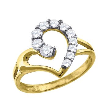 CZ Heart Love Ring in 10k Yellow Gold