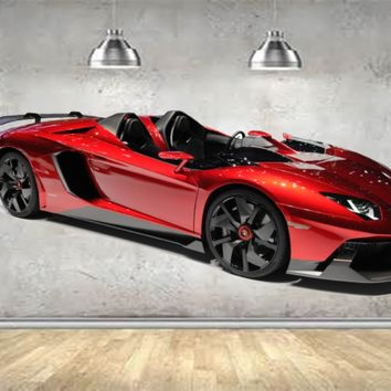 Red Lamborghini Convertible WALL DECAL REMOVABLE REPOSITIONABLE