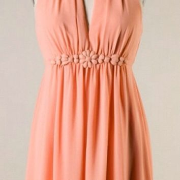 Chiffon Dress with Flower Band - Tangerine