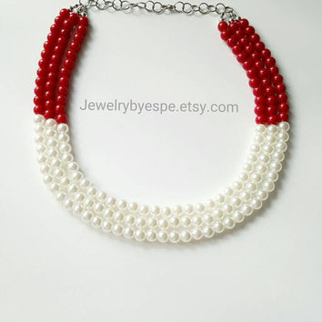 Red Statement Necklace, Pearl Statement Necklace, Chunky Bib Necklace, Beaded Statement Necklace, Layered Pearl Necklace