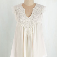 Boho Mid-length Cap Sleeves Happiest Gal on Earth Top in Cloud by ModCloth