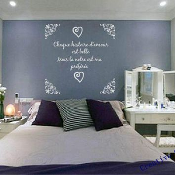 Free shipping French version wall stickers bedroom decor -- romantique bedroom vinyl wall decal sticker home decoration fr2012