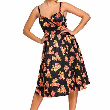Chicloth Black Pin-up Digital Floral Swing Vintage Dress