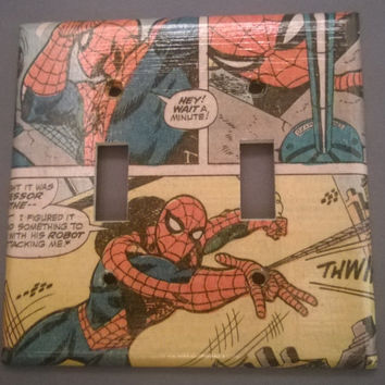 Comic Book Spiderman Superhero double toggle light switch cover