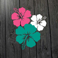 3 Hibiscus Flower Decals - Any Color - Hibiscus car decal Hibiscus wall decal Hibiscus laptop Hawaii wall Hawaii decal Hibiscus sticker